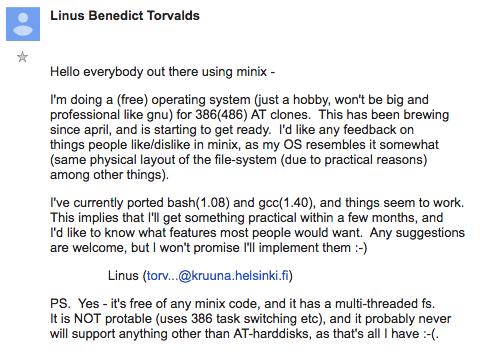 linus-torvald-first-linux-email Por que o Linux é gratuito?